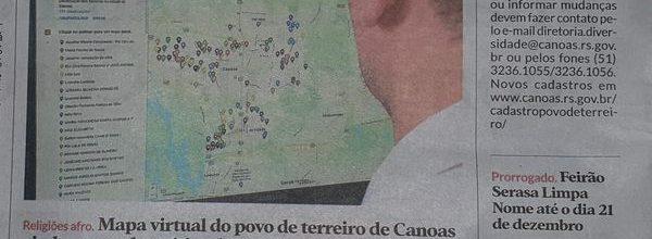 Mapa Virtual do Povo de Terreiro de Canoas é matéria no Diário de Canoas – 09/12/2020